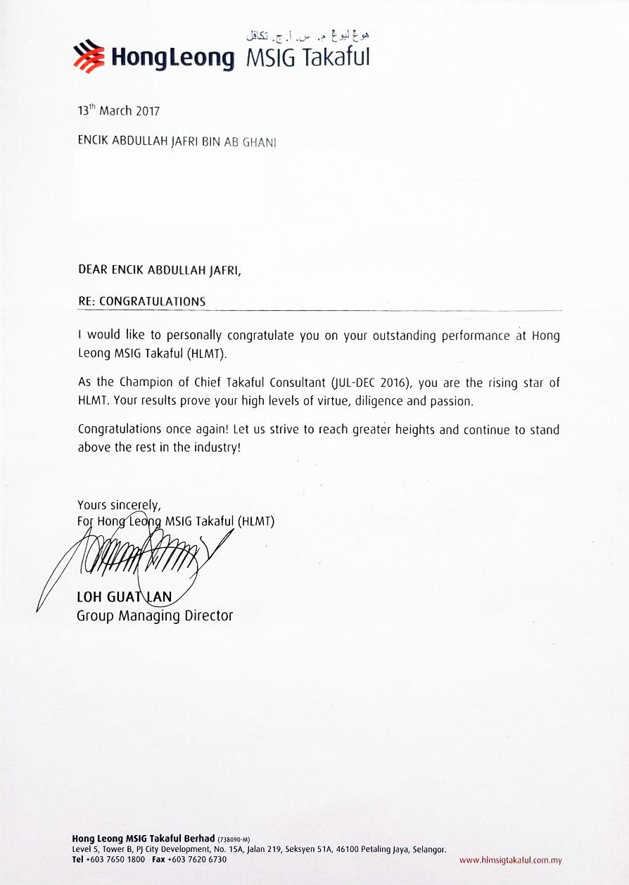 Agensi Terbaik di Hong Leong MSIG Takaful (HLMT)